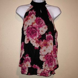 Pink flowered tank top